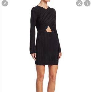 Cushnie Knit Mini Dress With Flare Sleeves and Black Sz S